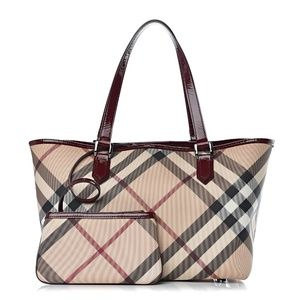 BURBERRY Supernova Check Small Nickie Tote Berry